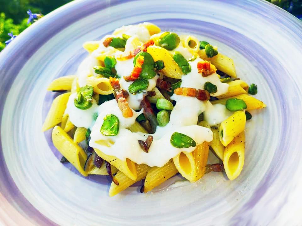 pasta fave crema di pecorino pancetta - ricetta- ilbuonoeilbello